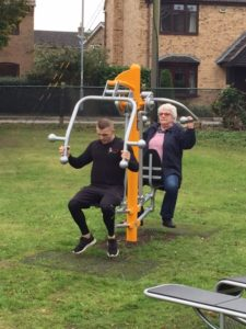outdoor gym in use
